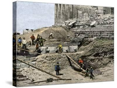 Archaeologists Excavating Ancient Ruins on the Acropolis, Athens, 1890s--Stretched Canvas Print