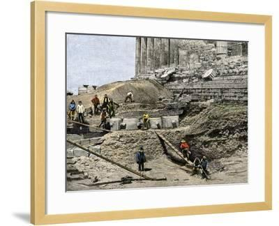 Archaeologists Excavating Ancient Ruins on the Acropolis, Athens, 1890s--Framed Giclee Print
