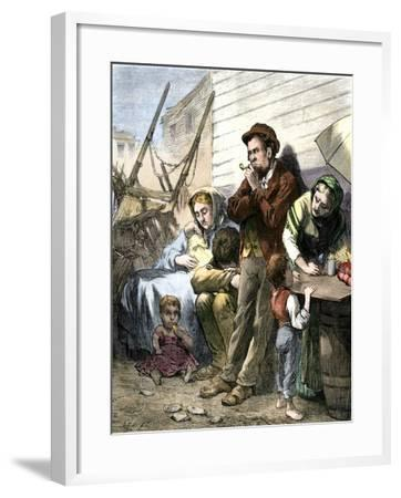 Irish Immigrant Family on a Summer Evening in the Shantytown at the Five Points, New York City--Framed Giclee Print