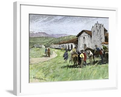 Group of Vaqueros Outside Santa Inez Mission in California, 1800s--Framed Giclee Print