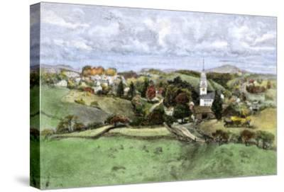 Village of New Boston, New Hampshire, in the 1800s--Stretched Canvas Print
