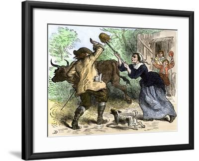 Tax-Collector Beaten Off by an Angry Carolina Colonist--Framed Giclee Print