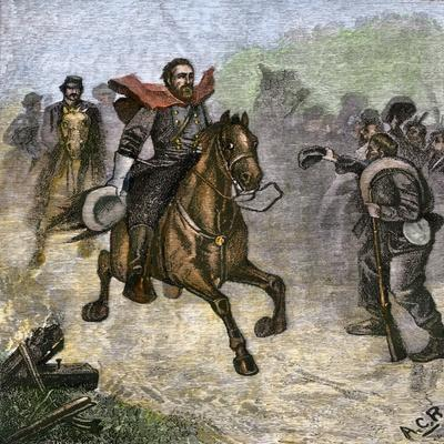 Confederate Troops Cheering at a Glimpse of General Stonewall Jackson, Us Civil War--Stretched Canvas Print