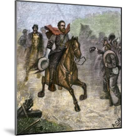 Confederate Troops Cheering at a Glimpse of General Stonewall Jackson, Us Civil War--Mounted Giclee Print