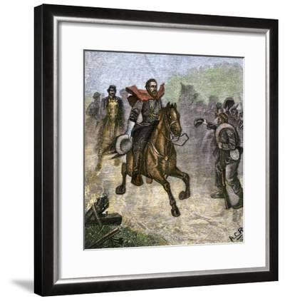 Confederate Troops Cheering at a Glimpse of General Stonewall Jackson, Us Civil War--Framed Giclee Print