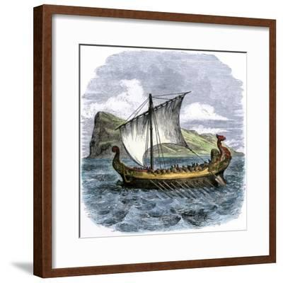 Phoenician Galley Passing the Rock of Gibraltar--Framed Giclee Print