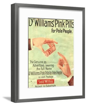 Dr Williams Pin Pills Medical Medicine, UK, 1890--Framed Giclee Print
