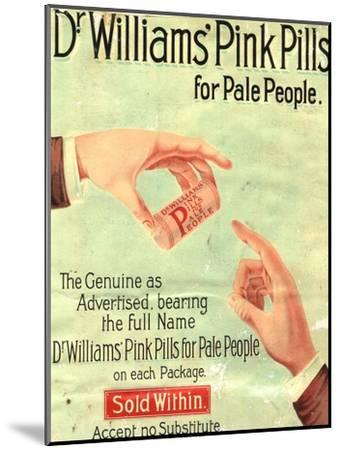 Dr Williams Pin Pills Medical Medicine, UK, 1890--Mounted Giclee Print