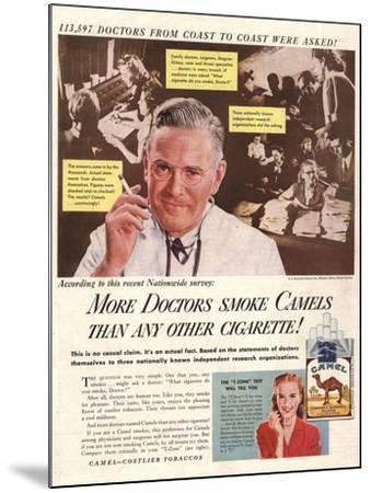 Camels, Cigarettes Smoking Medical, USA, 1946--Mounted Giclee Print