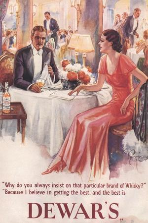 Dewar's, Whiskey Alcohol Dinners, UK, 1930--Stretched Canvas Print