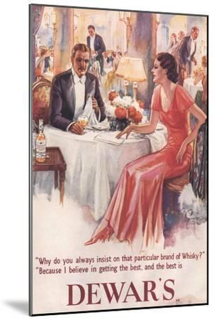 Dewar's, Whiskey Alcohol Dinners, UK, 1930--Mounted Giclee Print