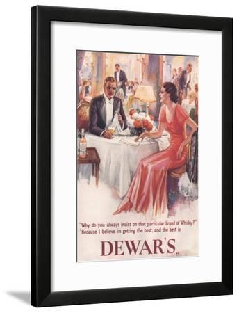 Dewar's, Whiskey Alcohol Dinners, UK, 1930--Framed Giclee Print