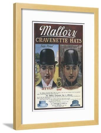 Mallory, Hats Mens Bowler, USA, 1910--Framed Giclee Print
