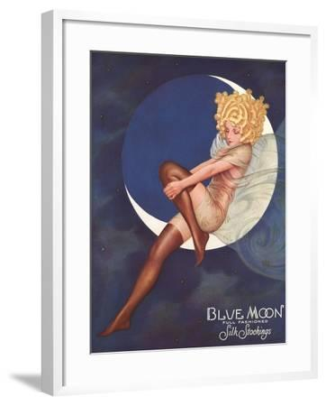 Blue Moon Silk stockings, Womens Glamour Pin-Ups Nylons Hosiery, USA, 1920--Framed Giclee Print