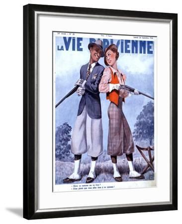 La Vie Parisienne, Couples Shooting Guns Hunting Magazine, France, 1936--Framed Giclee Print