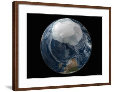 Full View of the Earth with the Full Antarctic Region Visible-Stocktrek Images-Framed Photographic Print