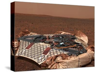 Rover's Landing Site, the Columbia Memorial Station, at Gusev Crater, Mars-Stocktrek Images-Stretched Canvas Print