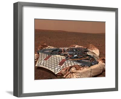 Rover's Landing Site, the Columbia Memorial Station, at Gusev Crater, Mars-Stocktrek Images-Framed Photographic Print