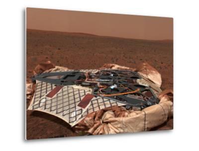 Rover's Landing Site, the Columbia Memorial Station, at Gusev Crater, Mars-Stocktrek Images-Metal Print