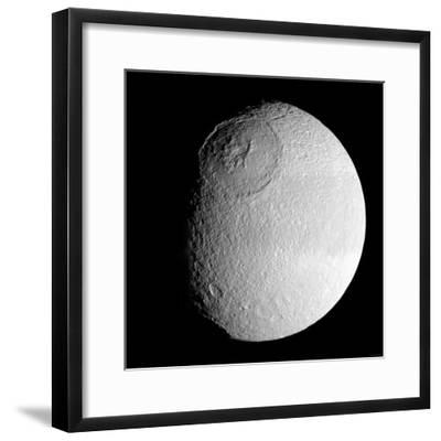 Saturn's Moon Tethys-Stocktrek Images-Framed Photographic Print
