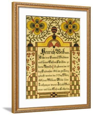 Decorated Birth and Baptism Record, Lancaster County, Pennsylvania, c.1828-Samuel Bentz-Framed Giclee Print