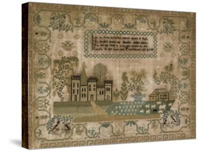 Silk-On-Linen Needlework Sampler. Probably Mid-Atlantic States, 1830-1840--Stretched Canvas Print