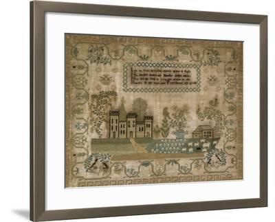 Silk-On-Linen Needlework Sampler. Probably Mid-Atlantic States, 1830-1840--Framed Giclee Print