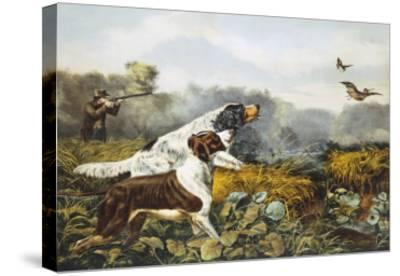 American Field Sports, a Chance For Both Barrels-Currier & Ives-Stretched Canvas Print
