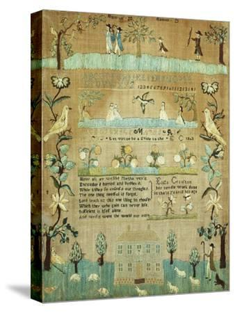 Fine Needlework Sampler. Probably Newport, Rhode Island, 1803--Stretched Canvas Print