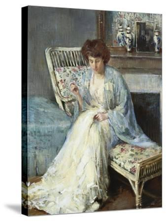 Mending-Adolphe Borie-Stretched Canvas Print