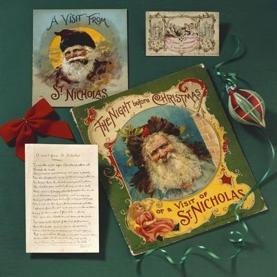 Visit from St. Nicholas, The First Commercial Christmas Greeting Card, London, c.1860--Stretched Canvas Print