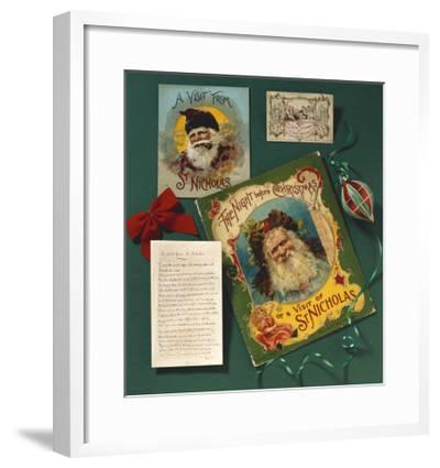 Visit from St. Nicholas, The First Commercial Christmas Greeting Card, London, c.1860--Framed Giclee Print