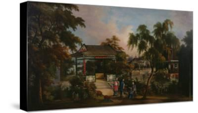 View of Howqua's Garden in Canton with Ladies by a Pavillion, c.1850--Stretched Canvas Print
