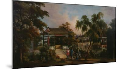 View of Howqua's Garden in Canton with Ladies by a Pavillion, c.1850--Mounted Giclee Print