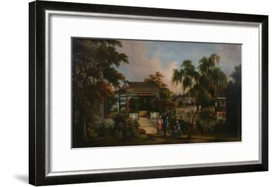 View of Howqua's Garden in Canton with Ladies by a Pavillion, c.1850--Framed Giclee Print
