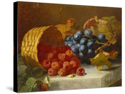 Still Life with Raspberries and a Bunch of Grapes on a Marble Ledge, 1882-Eloise Harriet Stannard-Stretched Canvas Print