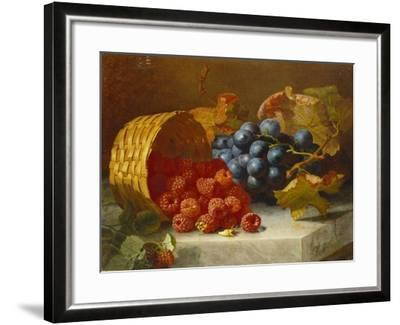Still Life with Raspberries and a Bunch of Grapes on a Marble Ledge, 1882-Eloise Harriet Stannard-Framed Giclee Print