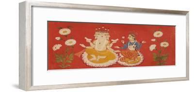 Brahma Seated with Saraswati Brahma Holding Four Vedas and Saraswai Clutching Lotus Petal, c.1650--Framed Giclee Print
