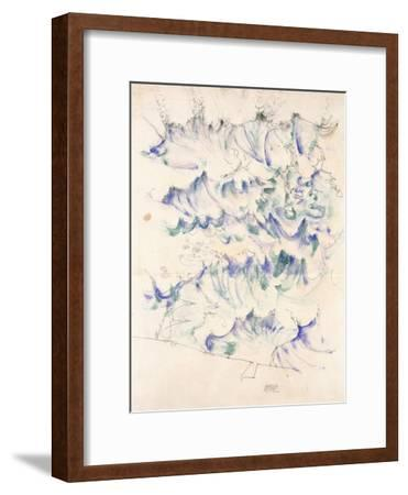 Waves. Wellen. Egon Schiele. Gouache and Pencil on Buff Paper, 1912-Egon Schiele-Framed Giclee Print