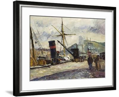 Steamboat, Rouen, Bateau a Vapeur, Rouen, 1883-Camille Pissarro-Framed Giclee Print