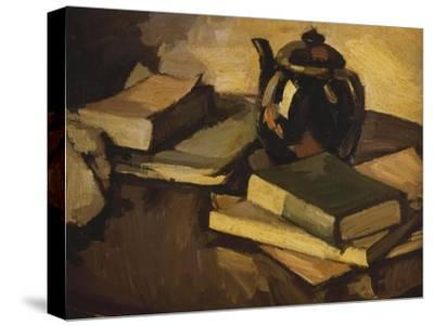 Still Life with a Teapot and Books on a Table, c.1926-Samuel John Peploe-Stretched Canvas Print
