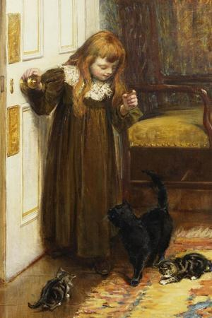 Playing with the Kittens, 1897-Edith Grey-Stretched Canvas Print