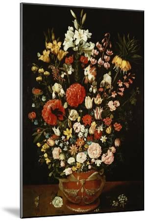 Tulips, Lillies, Irises, Roses, Carnations, Peonies, and Other Flowers in a Sculpted Terracotta Urn-Osias Beert-Mounted Giclee Print