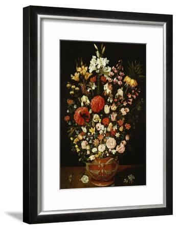 Tulips, Lillies, Irises, Roses, Carnations, Peonies, and Other Flowers in a Sculpted Terracotta Urn-Osias Beert-Framed Giclee Print