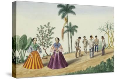 Manila and Its Environs: Filipinos Playing Football-Jose Honorato Lozano-Stretched Canvas Print
