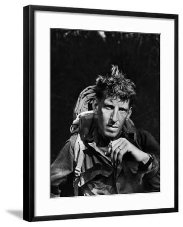 Battle-Weary Soldier, Member of Merrill's Marauders, Pausing with Cigarette, Burma Campaign in WWII-Bernard Hoffman-Framed Photographic Print