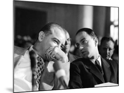 Sen. Joseph R. McCarthy Talking with His Lawyer Roy M. Cohn in the Army-McCarthy Hearings-Yale Joel-Mounted Photographic Print