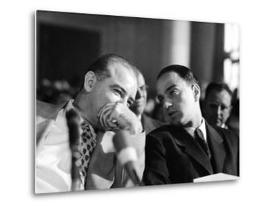 Sen. Joseph R. McCarthy Talking with His Lawyer Roy M. Cohn in the Army-McCarthy Hearings-Yale Joel-Metal Print
