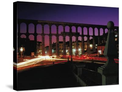 Illuminated Lights at Night by Aquaduct in Segovia, Spain--Stretched Canvas Print