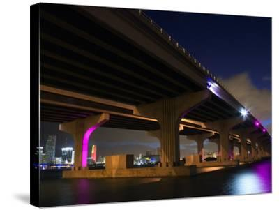 Industrial Bridge at Night in Miami, Florida--Stretched Canvas Print